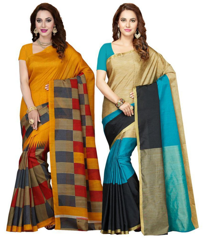Ishin Multicoloured Bhagalpuri Silk Saree Combos