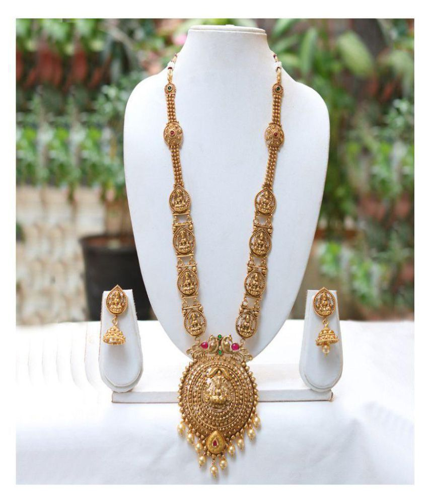 f762ac0e8 Lookethnic Beautiful Antique Artificial Gold Plated Laxmi Temple Design  Long Necklace Set - Buy Lookethnic Beautiful Antique Artificial Gold Plated  Laxmi ...