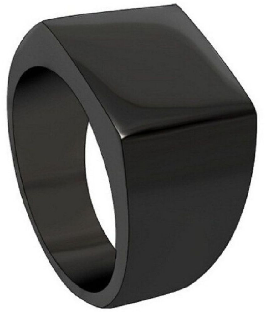 SILVERISH BEAUTIFUL Black Rhodium Plated Alloy Ring for Boys and Men