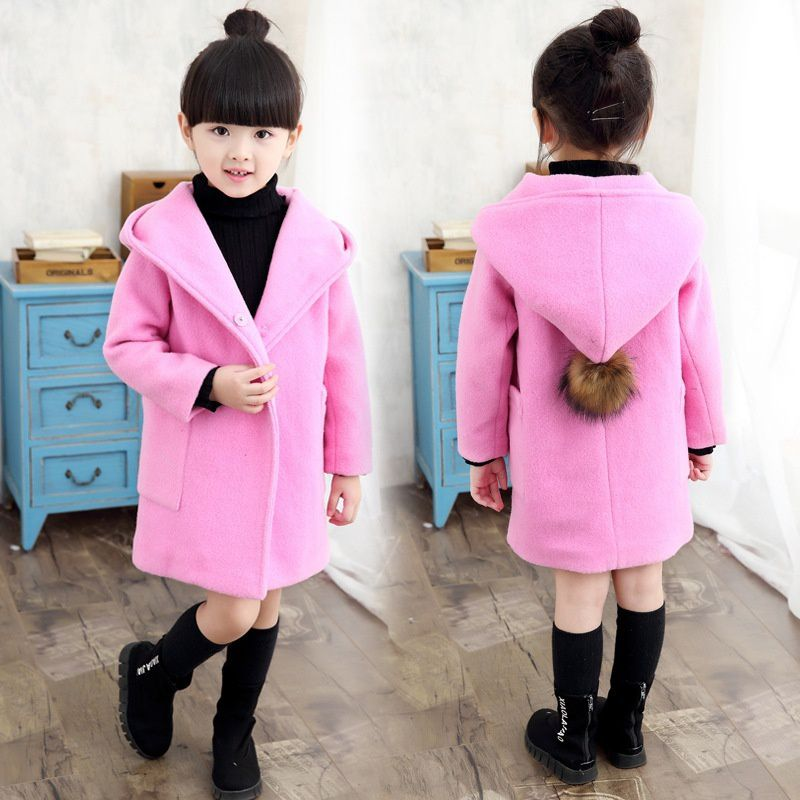Changing Destiny Girl hooded trench coat woolen coat-Pink-1Pcs