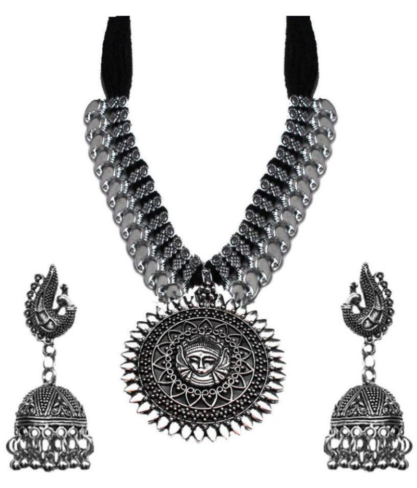 b0435098d6 Kaizer Jewelry Antique German Silver Oxidised Plated Tribal Cotton Thread  Jewelry Necklace Earring Set for Women & Girls.( Valentine Gift Special).