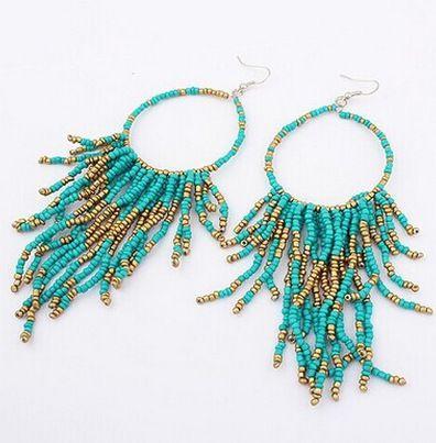 Levaso Fashion Earrings Ear Studs Resin Bohemia Tassels Jewelry Green