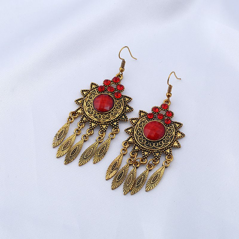 Levaso Fashion Jewelry Womens Earrings Ear Studs Alloy Floral Flower 1Pair Personality Gifts Red
