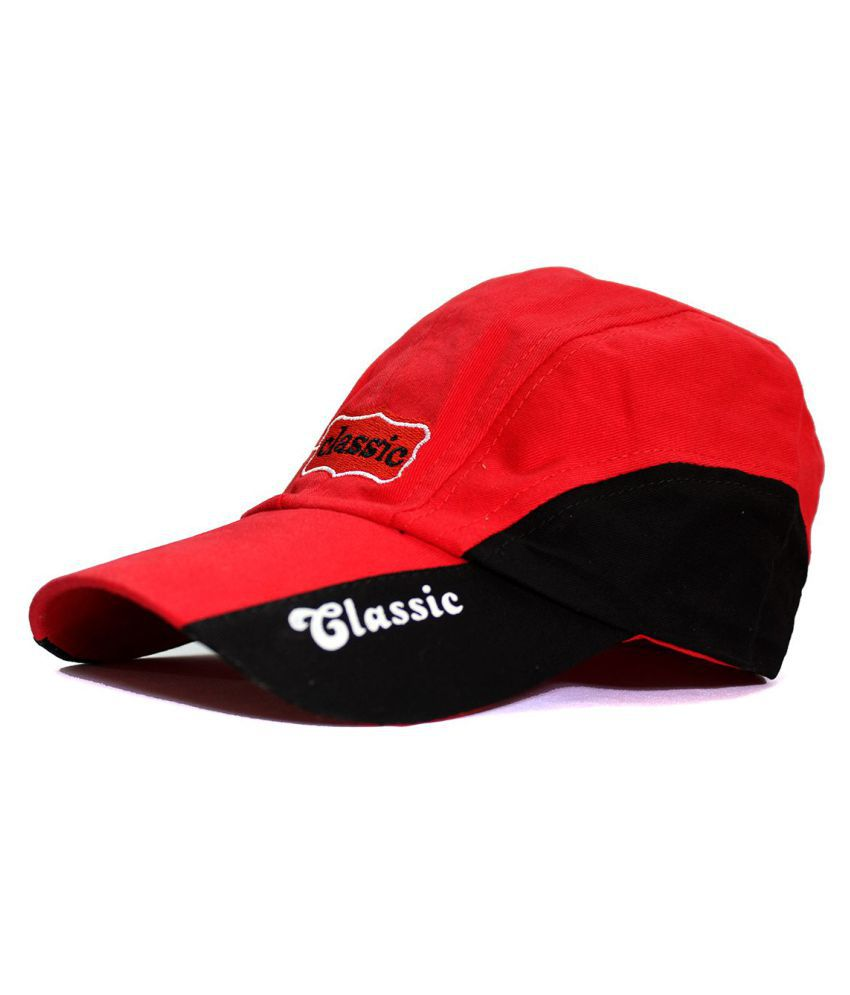 Classic Caps Red Embroidered Cotton Caps