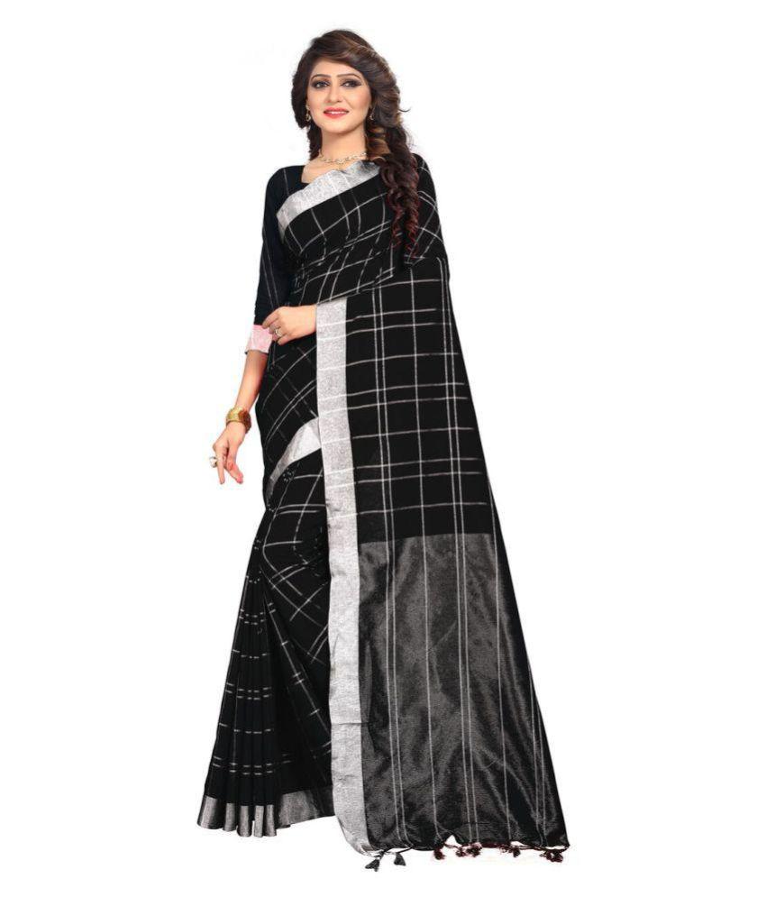 Jinnar Black Cotton Saree
