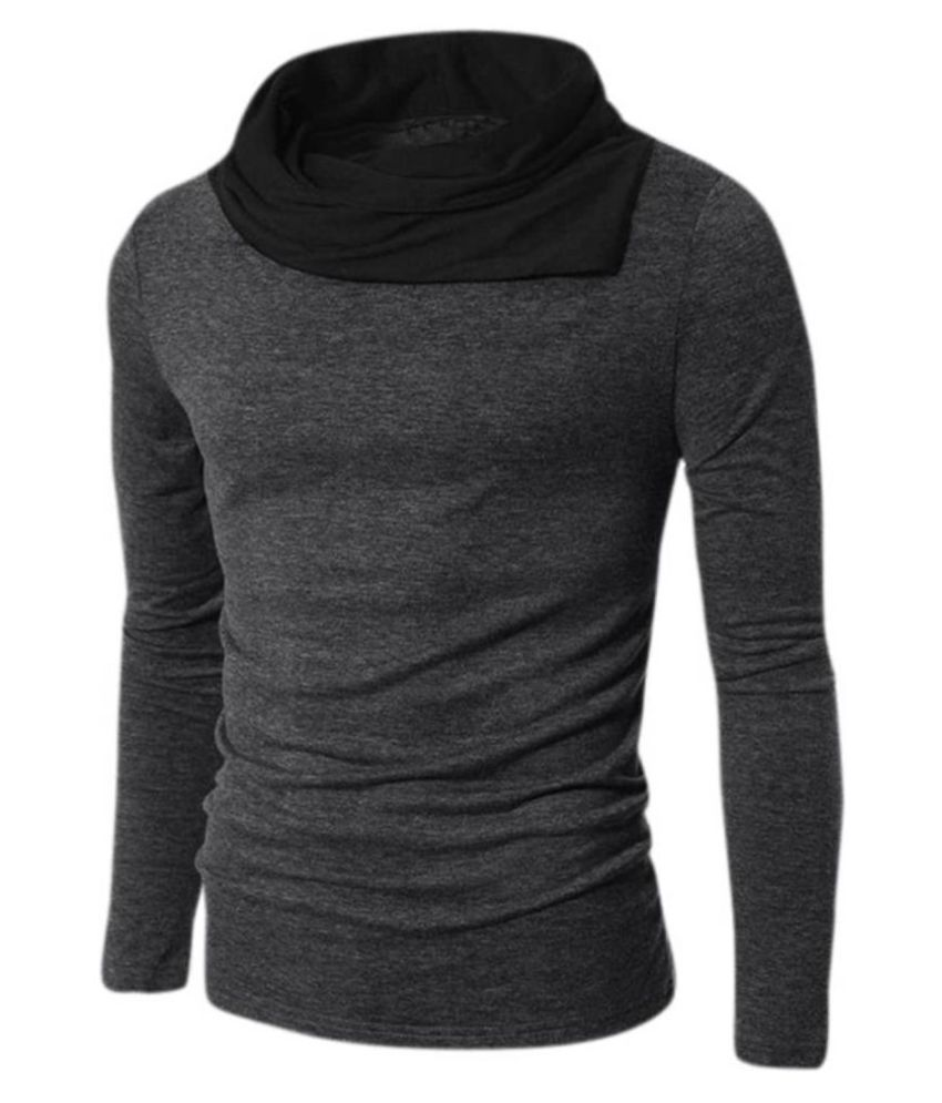 Try This Black High Neck T-Shirt
