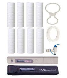 "Maxpure 8pc Spun PP Candle Filter 10"" Spanner Key + Pipe + Tap + Digital TDS Meter"