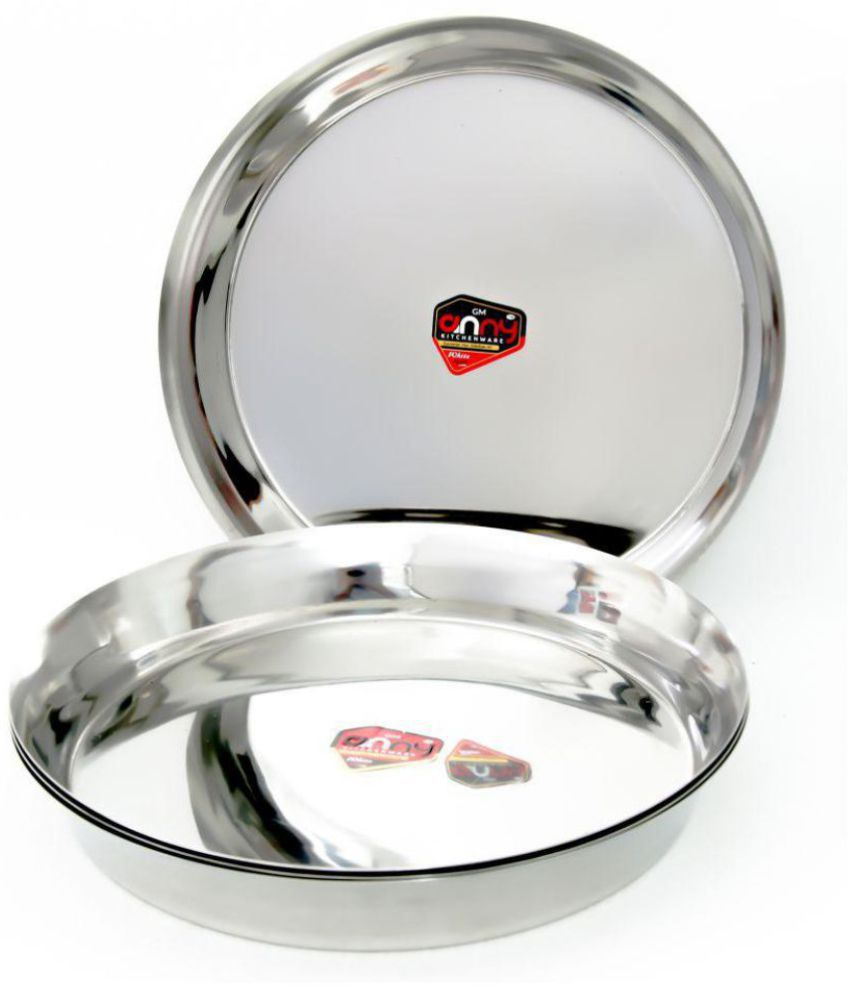 Anny Kitchenware 4 Pcs Stainless Steel Full Dinner Plate