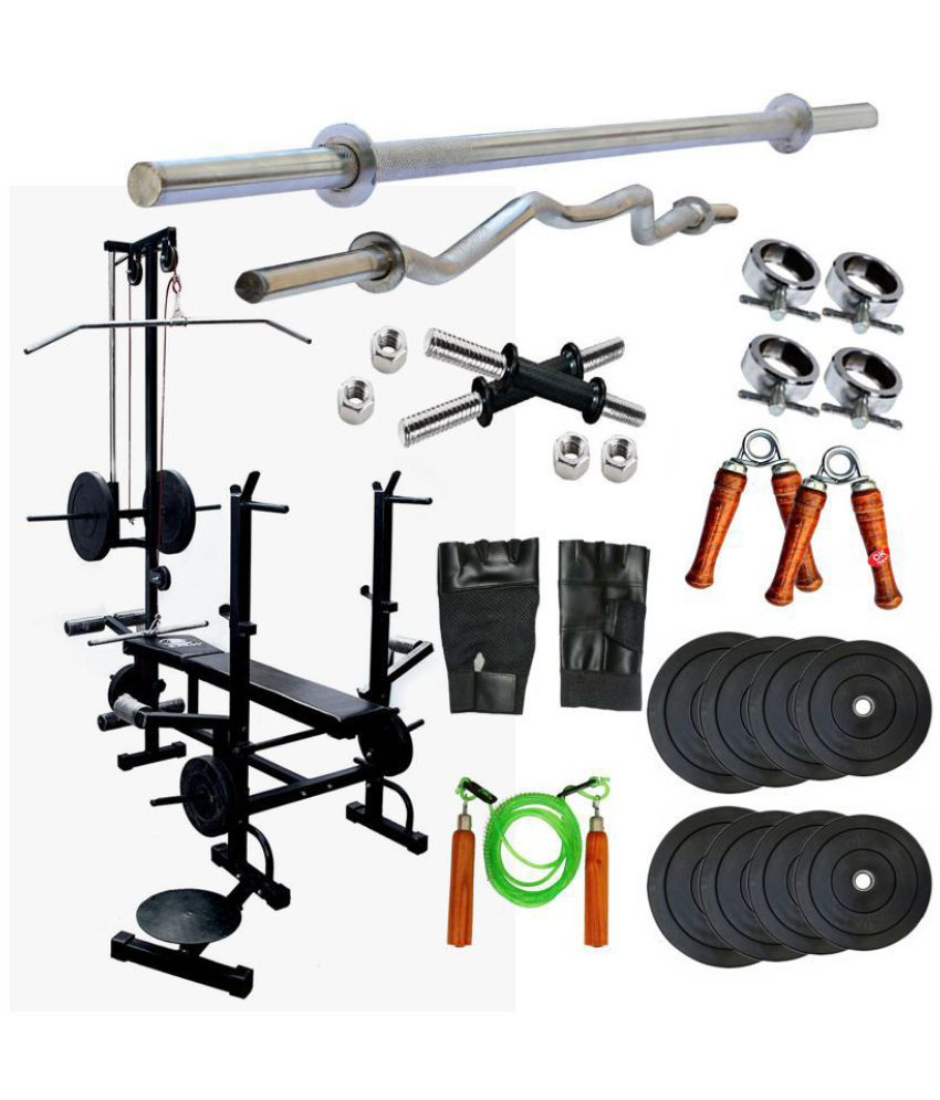 KAKSS 20 IN 1 BENCH+ 10KG HOME GYM SET+3 FT CURL ROD+5 FT PLAIN ROD +1 PAIR  DUMMBLES ROD+ALL GYM ACCESORIES