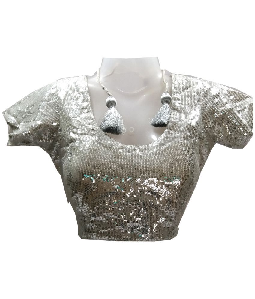 081dde1aaeb fully fit Silver Sequin Readymade with Pad Blouse - Buy fully fit Silver  Sequin Readymade with Pad Blouse Online at Low Price - Snapdeal.com