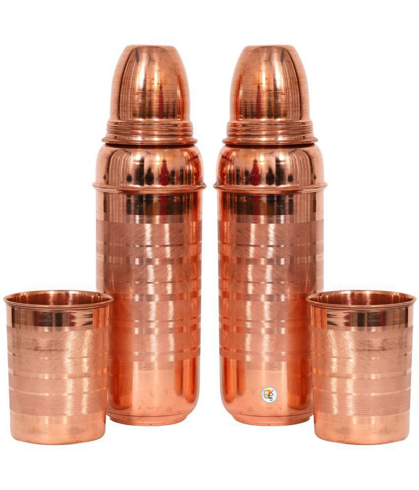 KDT Two Copper Thermos Bottle With 2 Glasses 4 Pcs Jug and Glass Combo