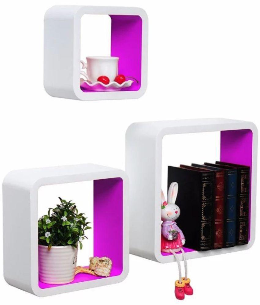 Onlineshoppee Floating Shelves White MDF - Pack of 3