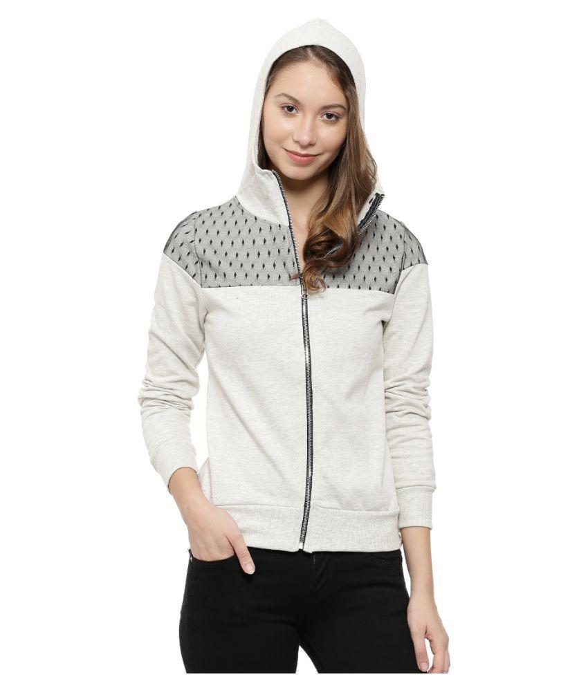 Campus Sutra Cotton Beige Non Hooded Sweatshirt