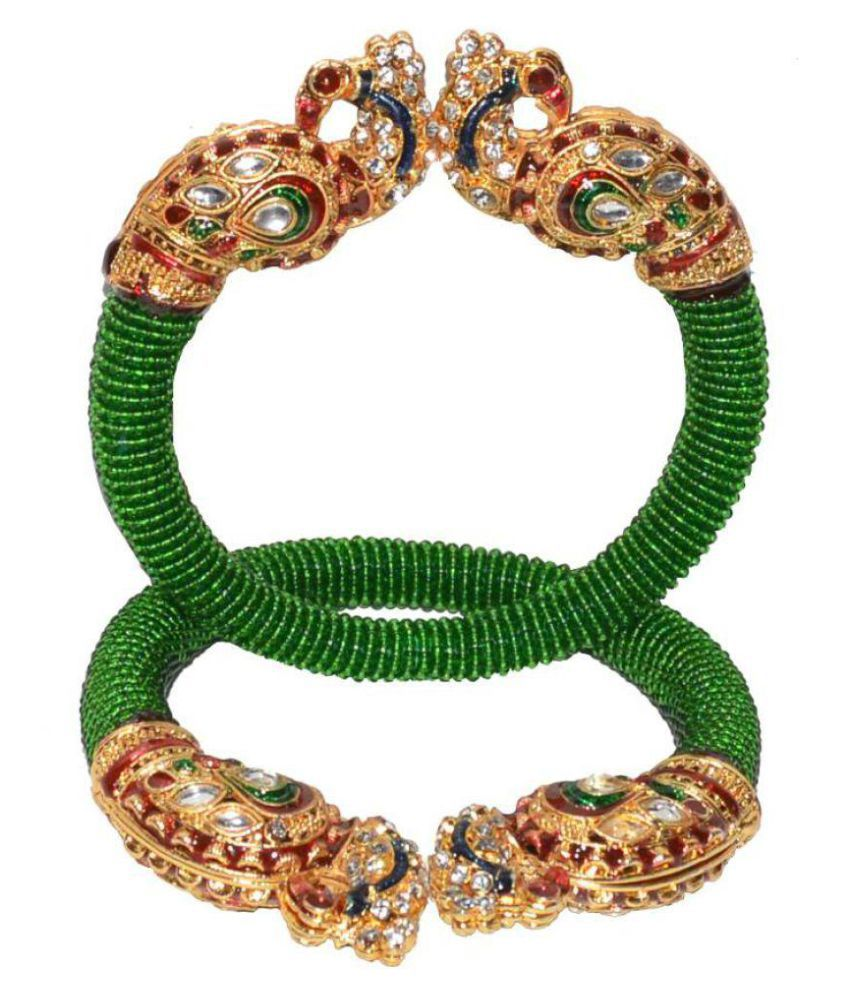 Jewels Kafe Traditional Ethnic One Gram Gold Plated Delica Bead with Meenakari Peacock Designer Openable Kada