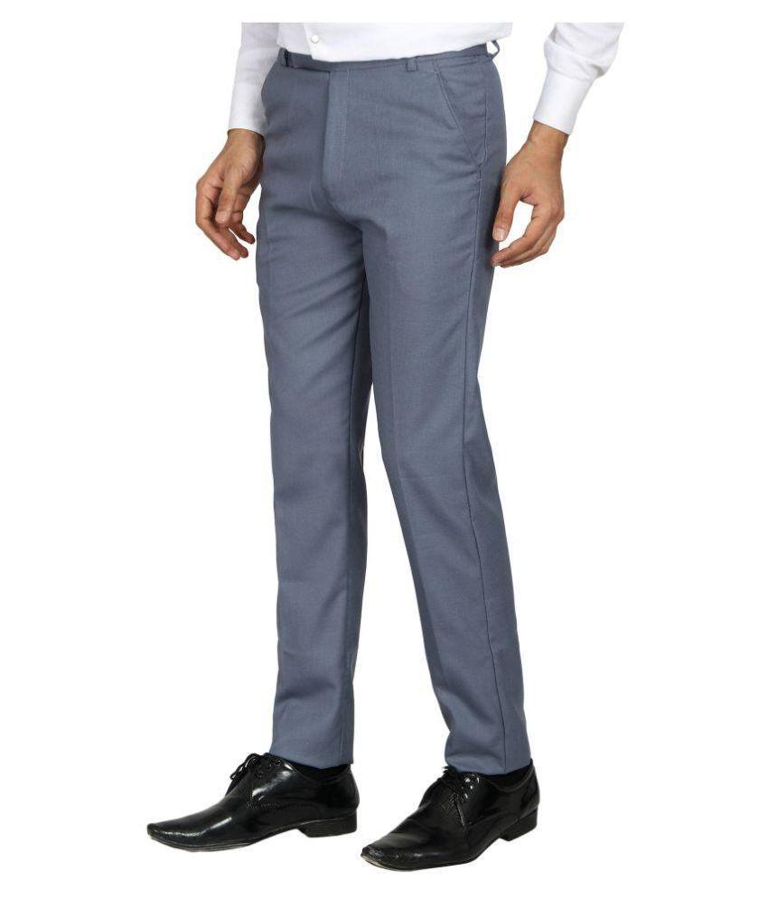MRD Grey Regular -Fit Flat Trousers