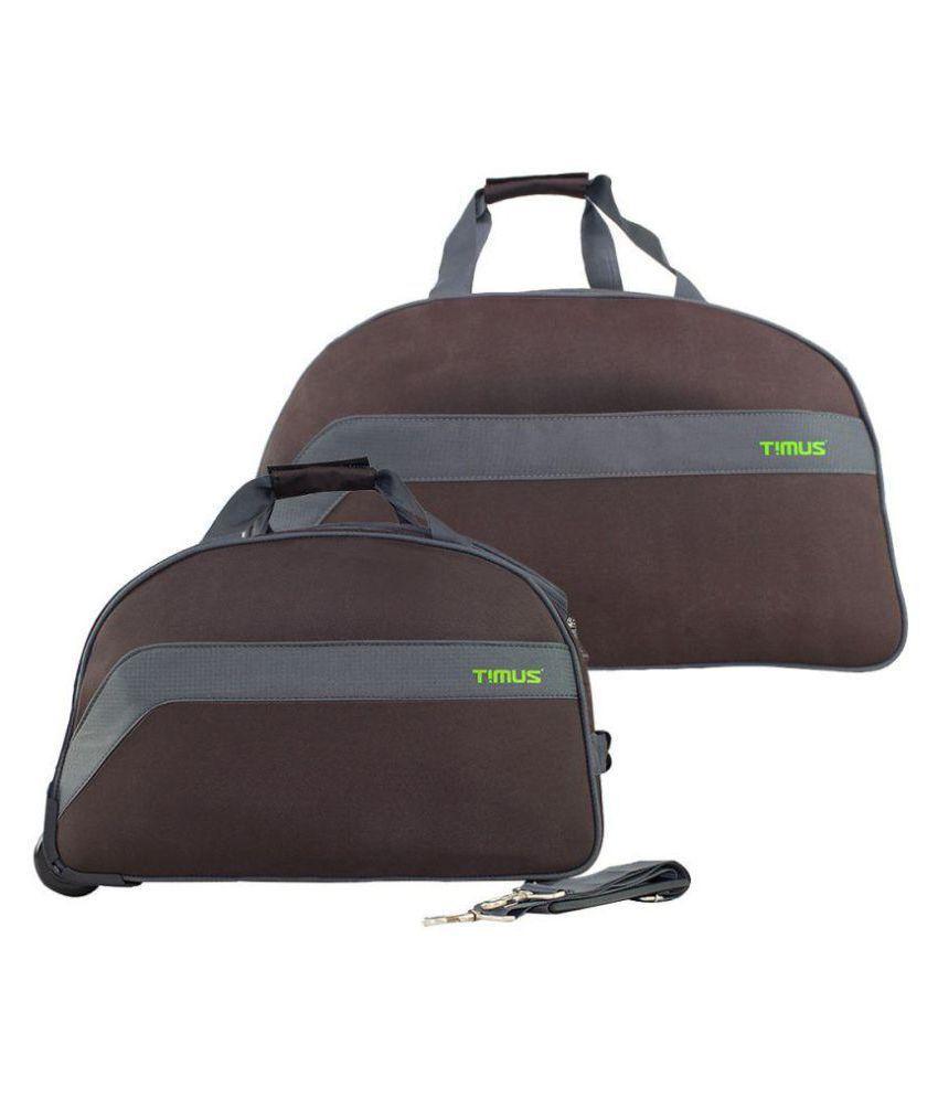 Timus Brown Solid Duffle Bag