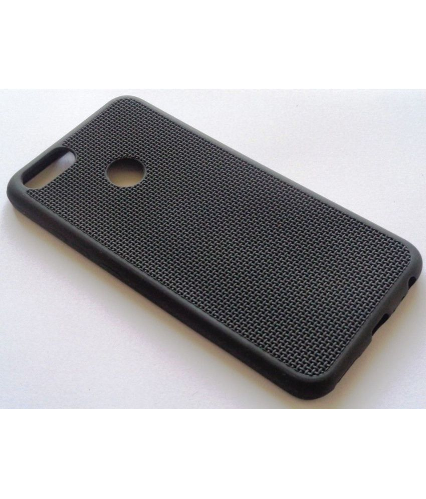 Mi A1 Plain Cases FOKATKART - Black Washable soft back cover with net design