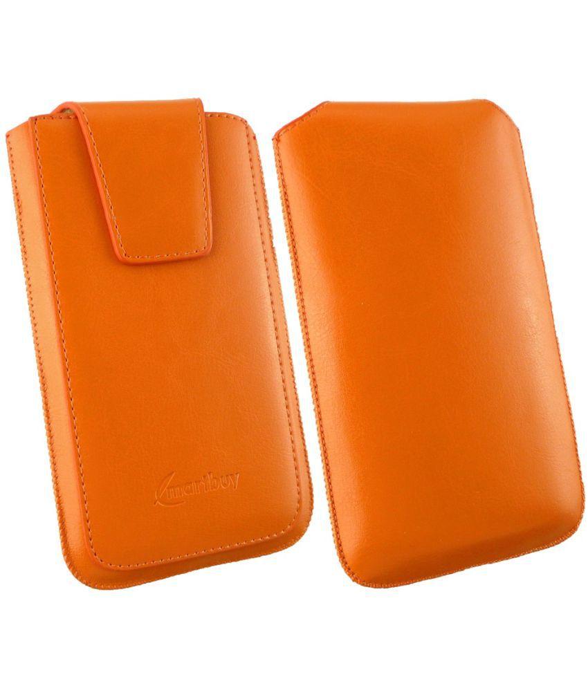 ZTE AXON 7 MINI Flip Cover by Emartbuy - Orange ( Magnetic Pouch Size 3XL ) Orange Sleek
