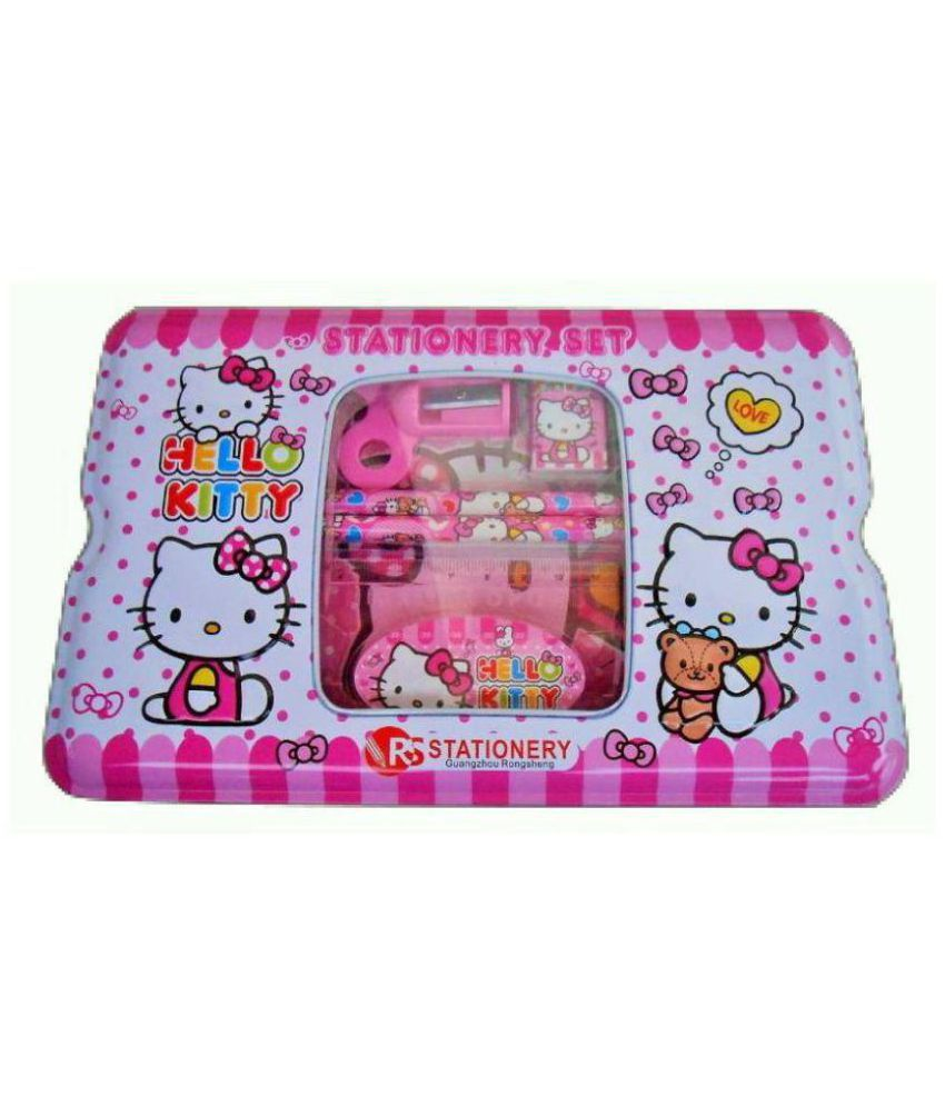 50413a646 HELLO KITTY METALLIC PENCIL BOX WITH STATIONERY COLOR PINK: Buy Online at  Best Price in India - Snapdeal