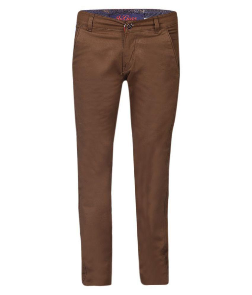 In Gear Dark Brown Slim -Fit Flat Trousers