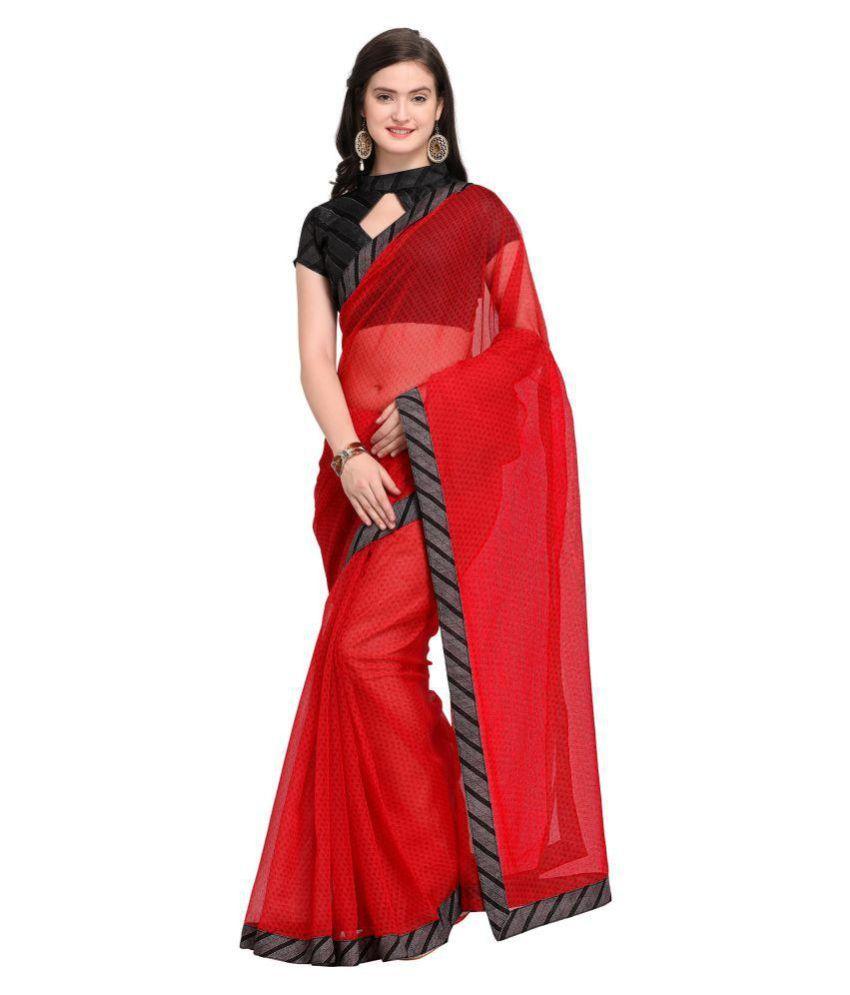 Shaily Retails Red Cotton Blend Saree