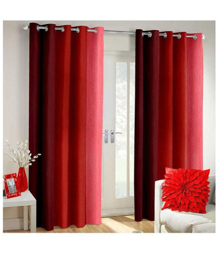 Tanishka Fabs Set of 2 Window Blackout Eyelet Polyester Curtains Red