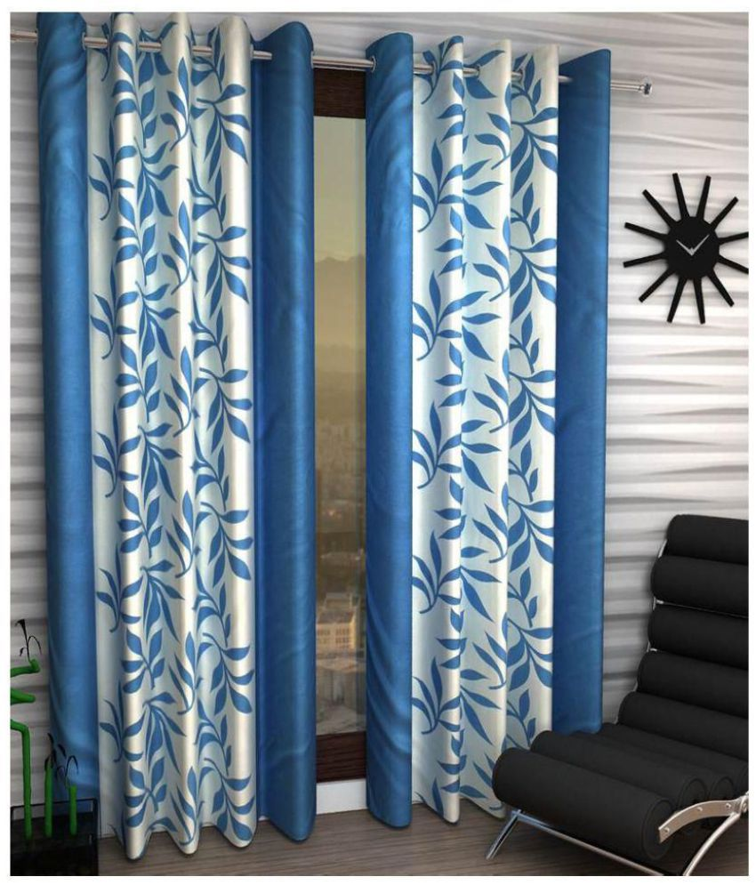 Tanishka Fabs Set of 2 Door Semi-Transparent Eyelet Polyester Curtains Aqua