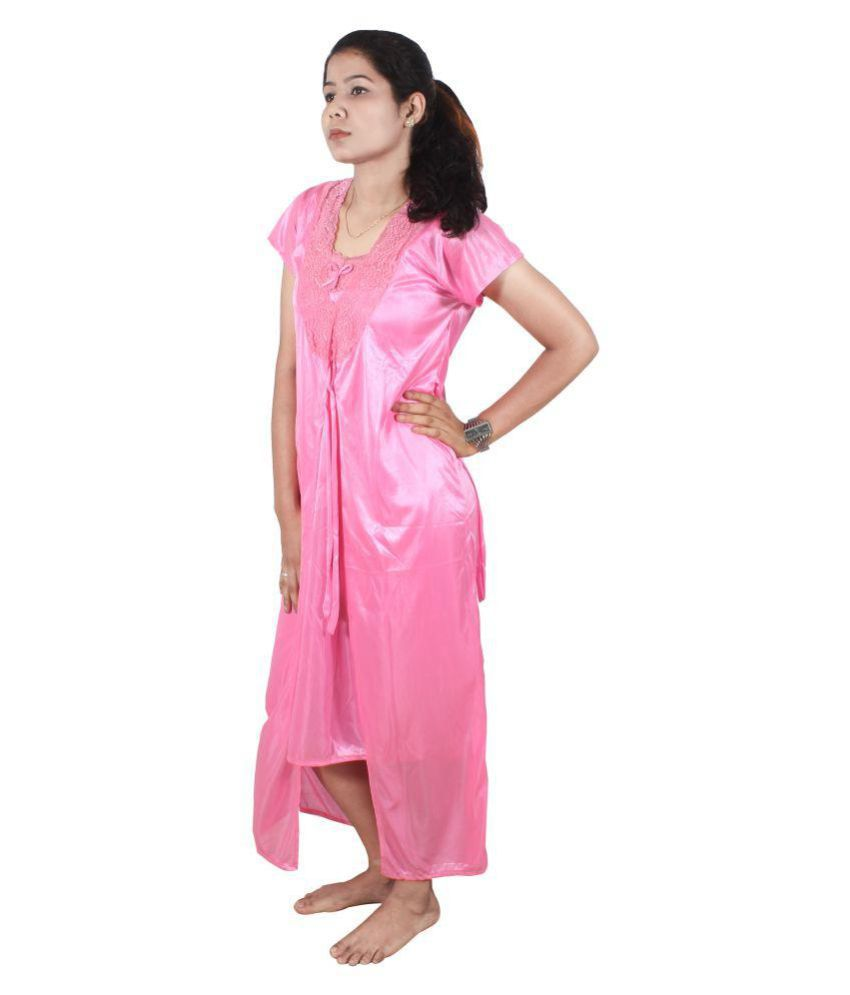 Ss Creation Satin Nighty & Night Gowns - Pink