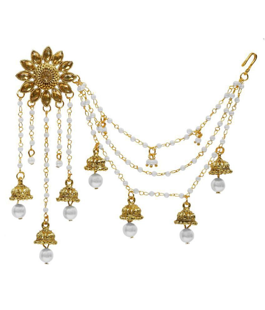 Aadita Bahubali Design Heavy Earrings With Hair Chain For Women