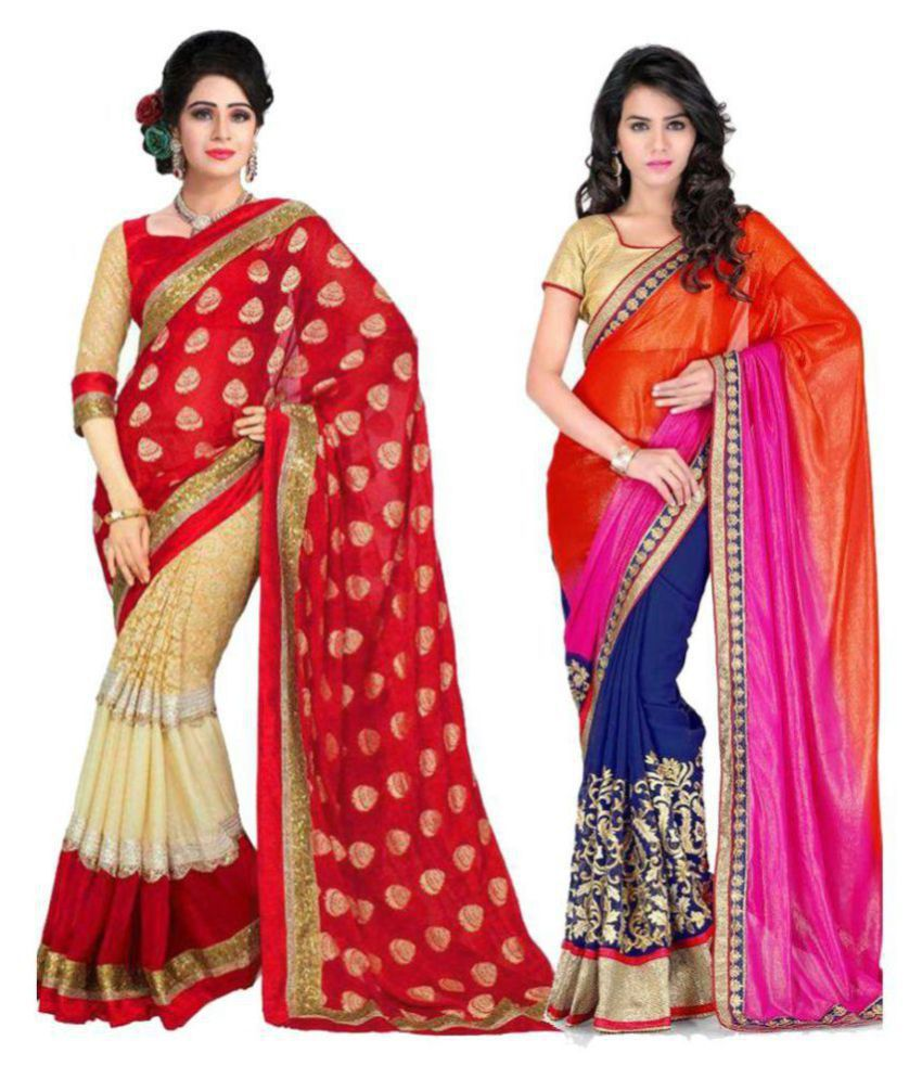 DEEPAK Multicoloured Chiffon Saree