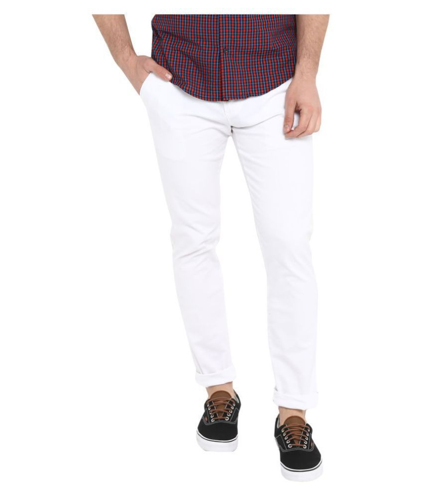 Red Tape White Slim -Fit Flat Chinos