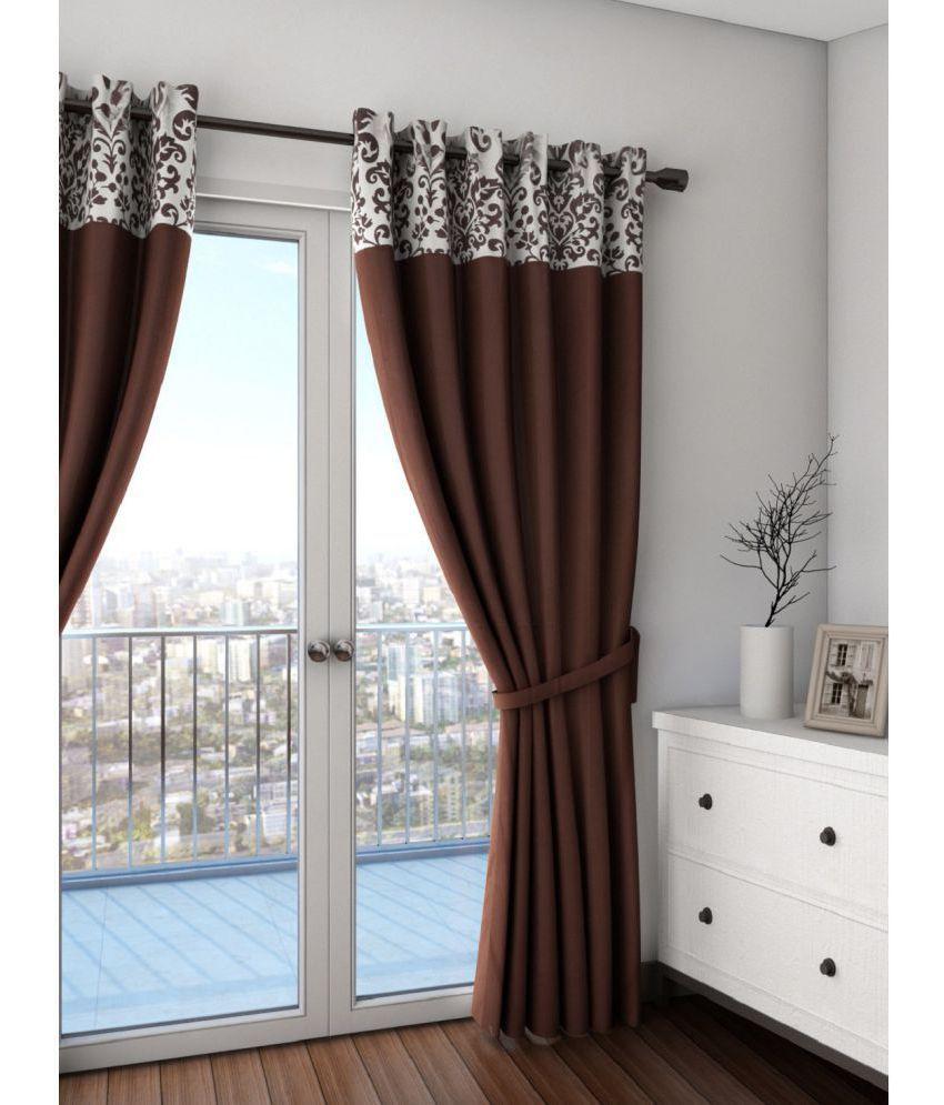 Swayam Single Door Semi-Transparent Eyelet Cotton Curtains Dark Brown