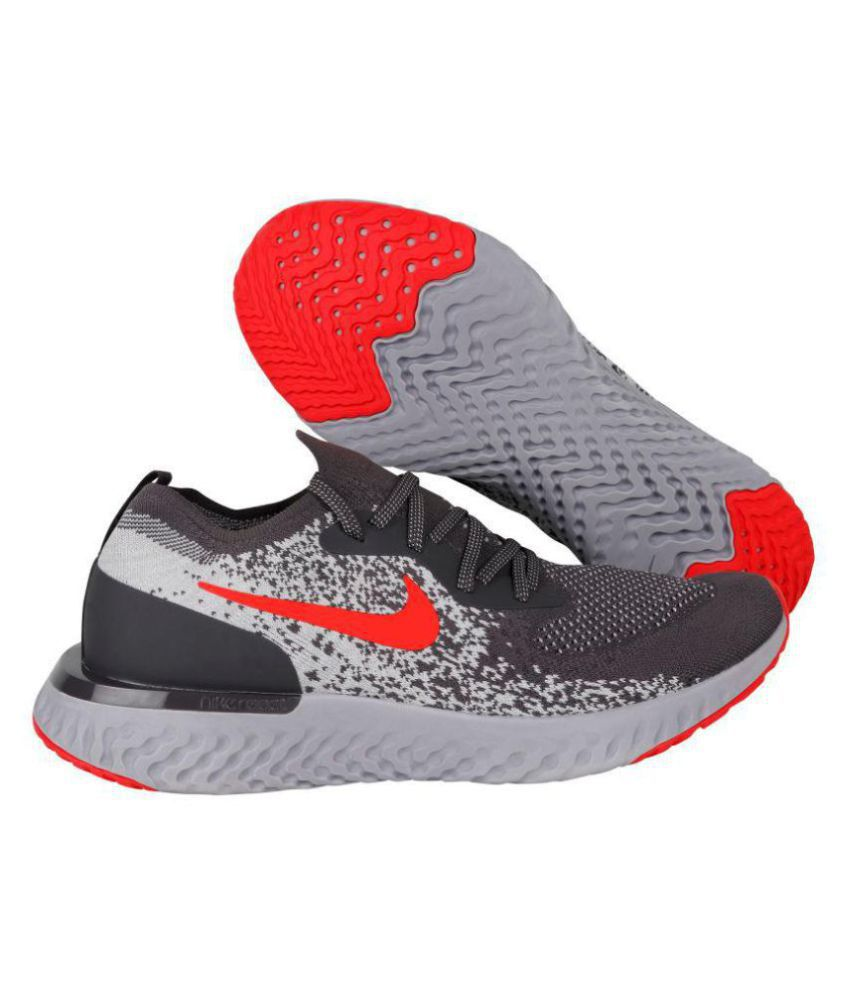 506b3a13cee Nike EPIC REACT FLYKNIT Grey Running Shoes - Buy Nike EPIC REACT FLYKNIT  Grey Running Shoes Online at Best Prices in India on Snapdeal