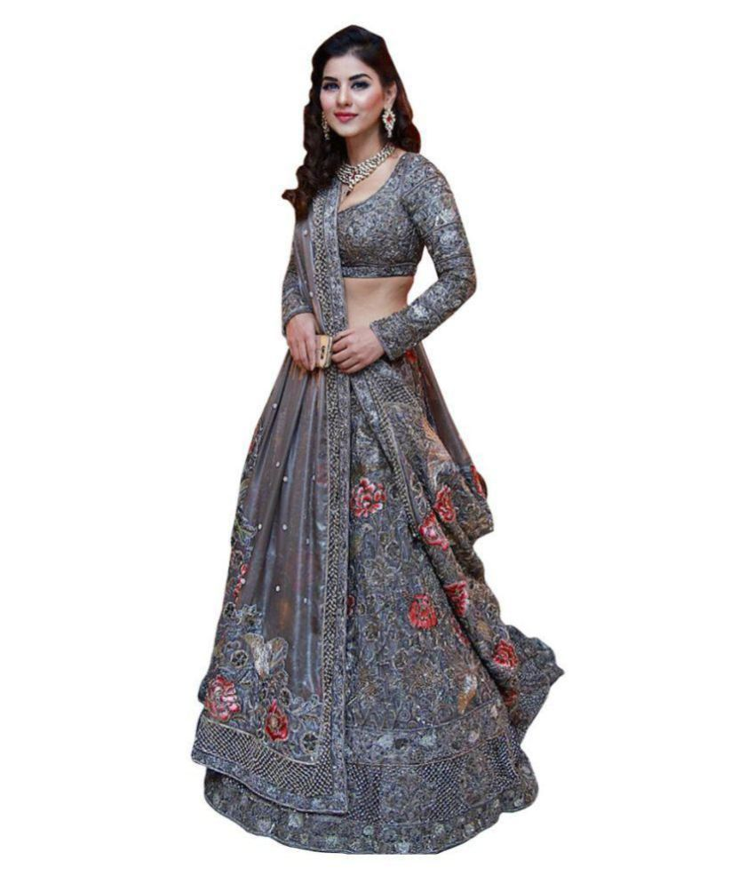 afd0b8040a V & V Shop Grey Nylon Semi Stitched Lehenga - Buy V & V Shop Grey Nylon  Semi Stitched Lehenga Online at Best Prices in India on Snapdeal