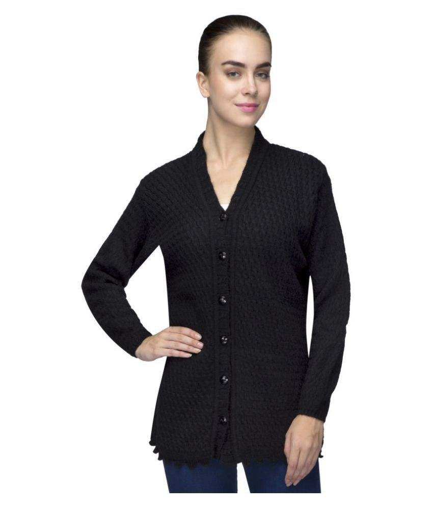 One Femme Woollen Black Buttoned Cardigans