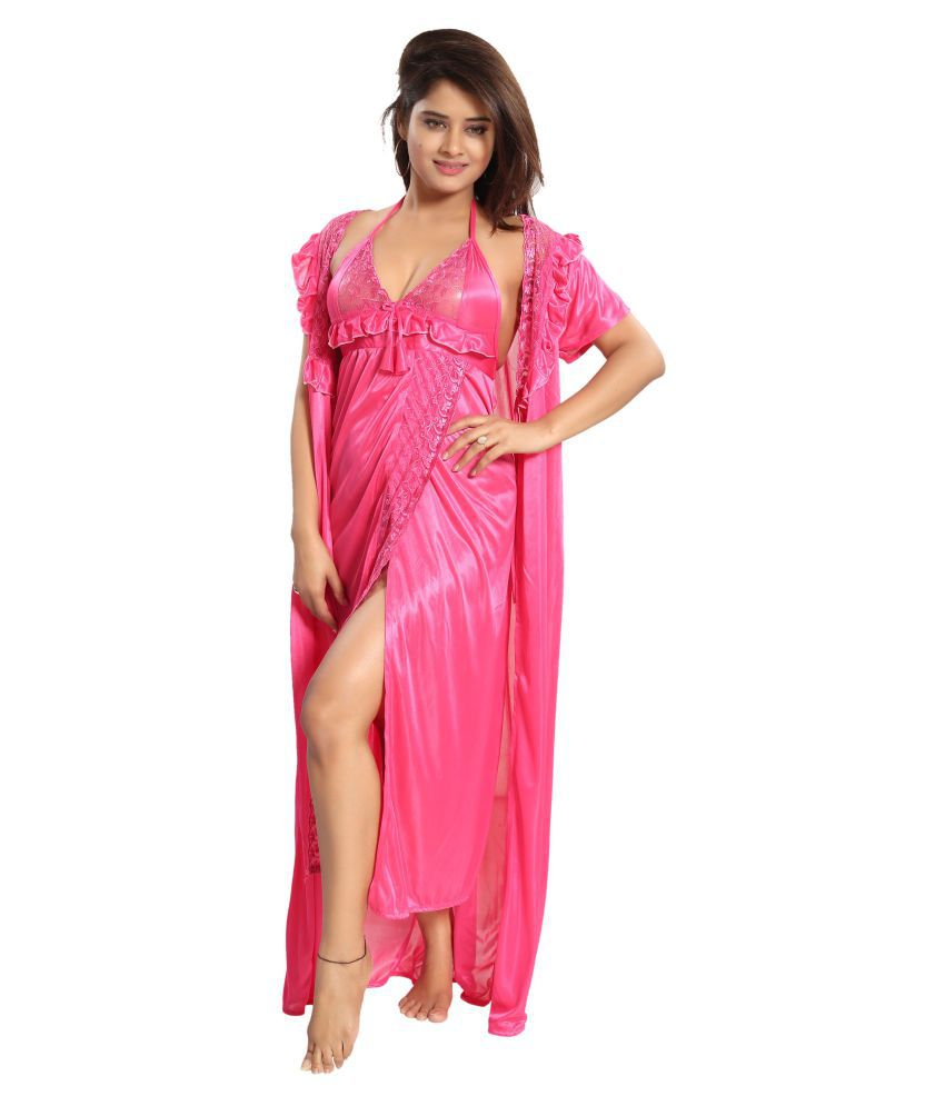 ea28157de5 Buy Reposey Satin Nighty & Night Gowns - Pink Online at Best Prices in  India - Snapdeal