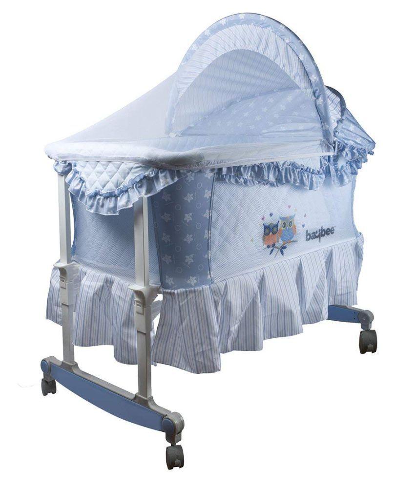 Baybee Angel-Hug Bassinet Cradle cum Rocker with Mosquito Net- Canopy and Wheels-Blue