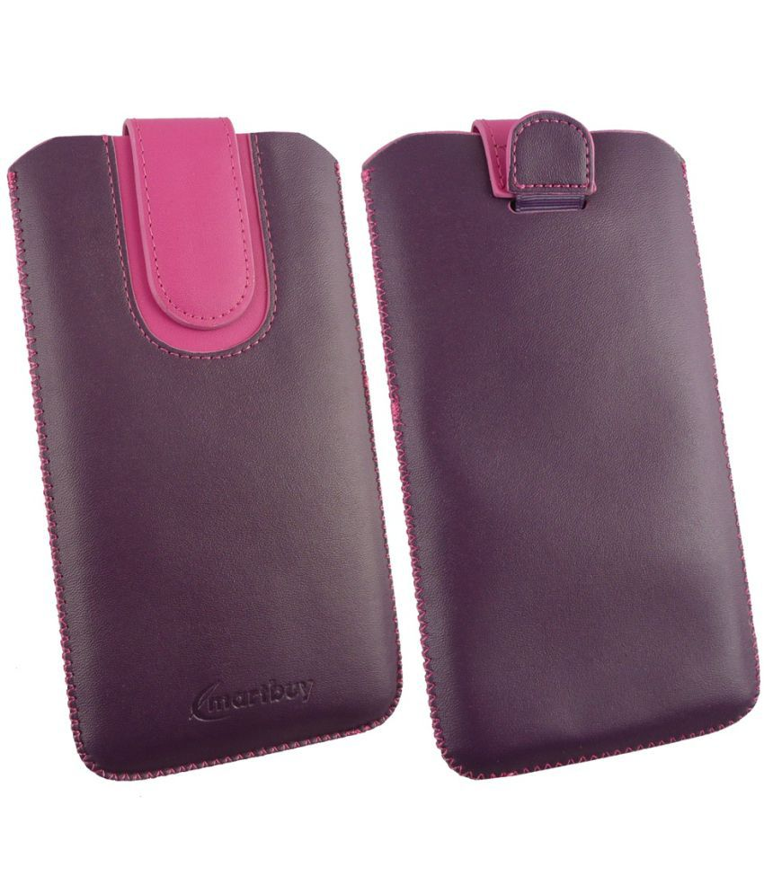Karbonn K9 Smart Selfie Flip Cover by Emartbuy - Multi ( Magnetic Pouch Size 3XL ) Purple/Pink Plain