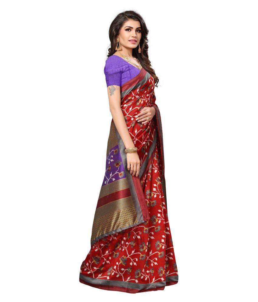 Dipuva Fashion Red Mysore Silk Saree