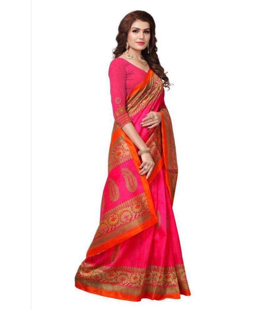 Indira Red and Orange Bhagalpuri Silk Saree