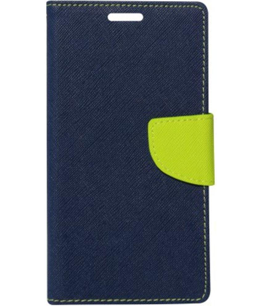 Micromax Canvas Xpress 2 E313 Flip Cover by Kosher Traders - Blue Premium Mercury