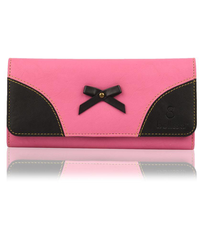 BELLISSA Pink Faux Leather Box Clutch