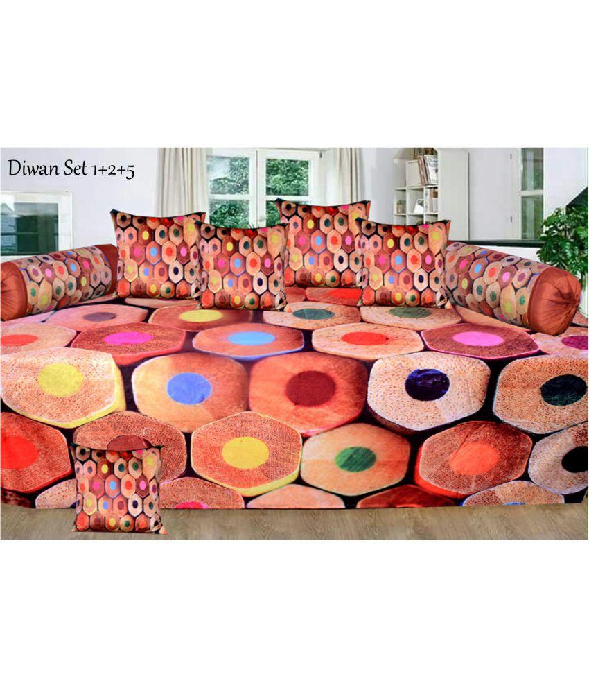 FARSH Velvet Multi Abstract Diwan Set 8 Pcs