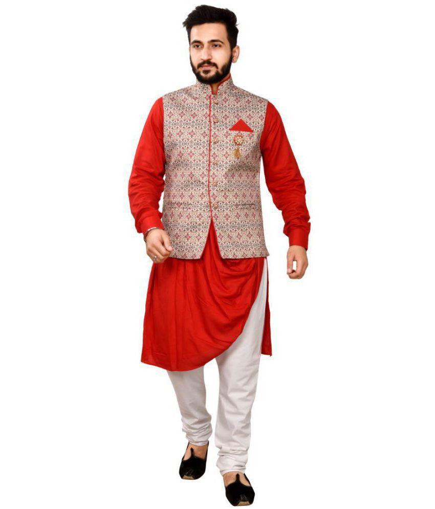 SG RAJASAHAB Maroon Cotton Kurta Pyjama Set Pack of 1