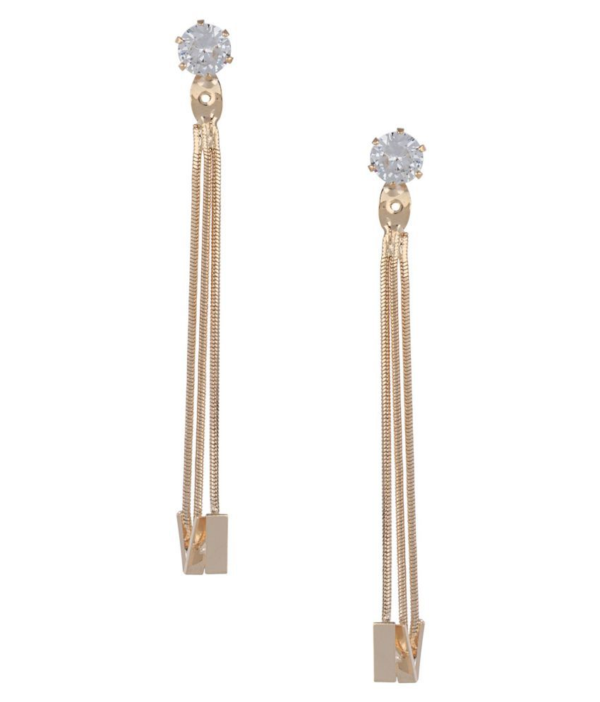 Archi Collection Fashion Jewellery Stylish Gold/ Silver Plated CZ Tassel Geometric Dangle Drop Earrings for Girls Women Love Gift