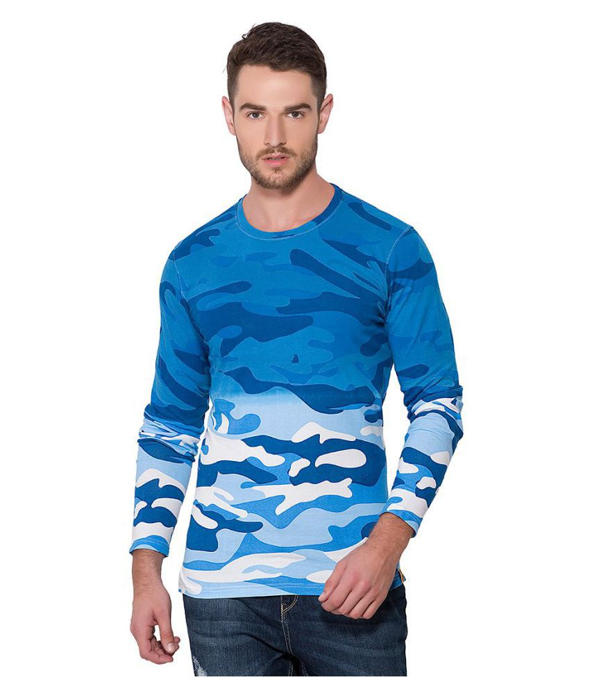 Campus Sutra Blue Full Sleeve T-Shirt