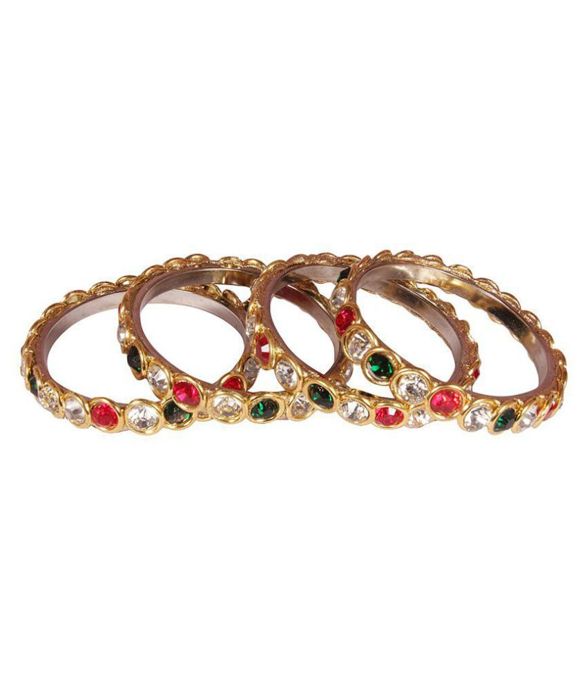Fashionable & Glossy Multi color Stone Bangles for Girls & Golden color Stone Brass Bangles/Kadaa for Women & Girls on Festive & Wedding Occasions