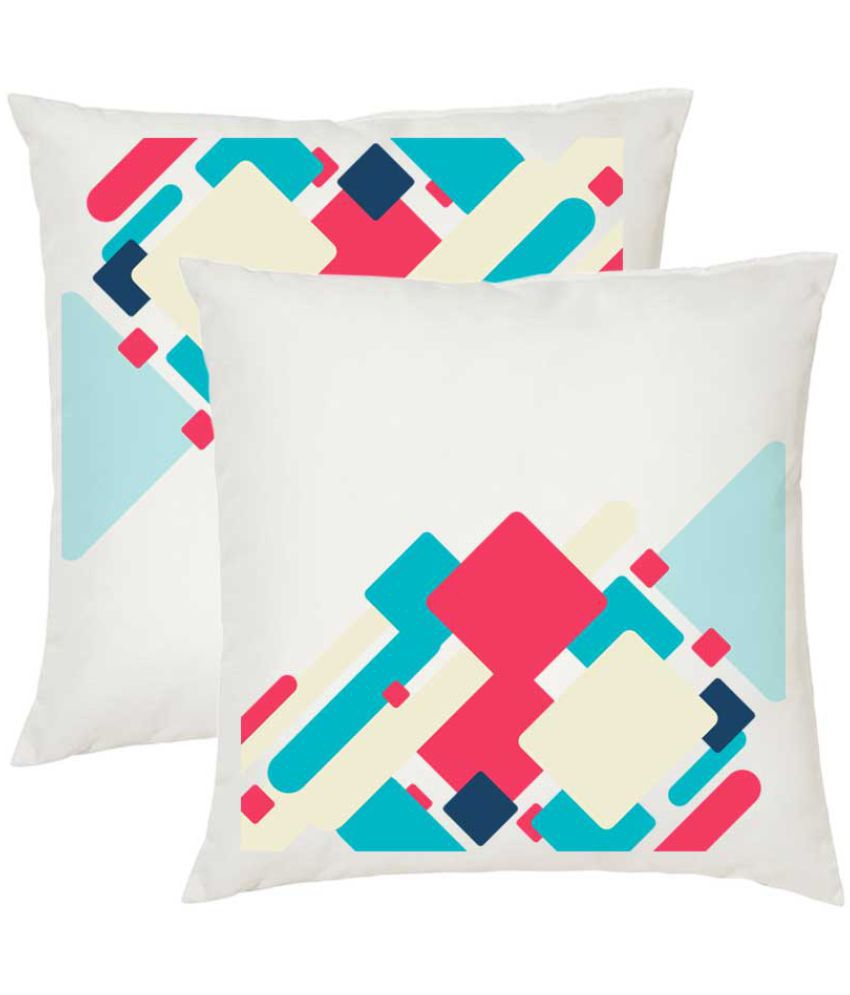 Juvixbuy Set of 2 Poly Cotton Cushion Covers with Fillers 30X30 cm (12X12)