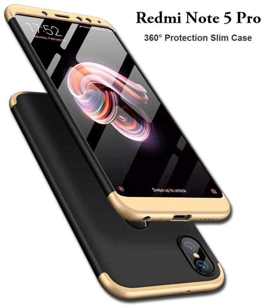 watch 0c64a 1cd4d Xiaomi Redmi Note 5 Pro Shock Proof Case JMA - Golden Original Gkk 360°  Protection Slim Case