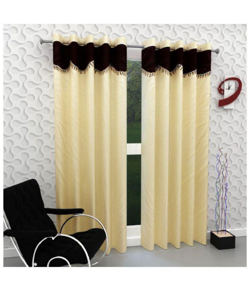 Tanishka Fabs Set of 2 Door Semi-Transparent Eyelet Polyester Curtains Beige